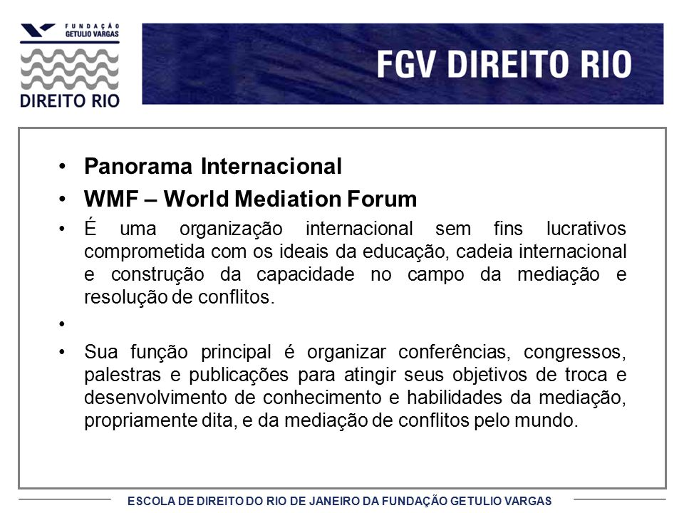 Panorama Internacional WMF – World Mediation Forum