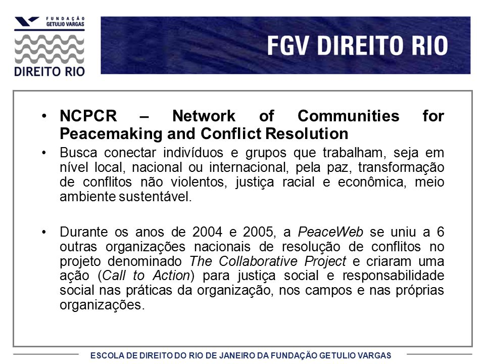 NCPCR – Network of Communities for Peacemaking and Conflict Resolution