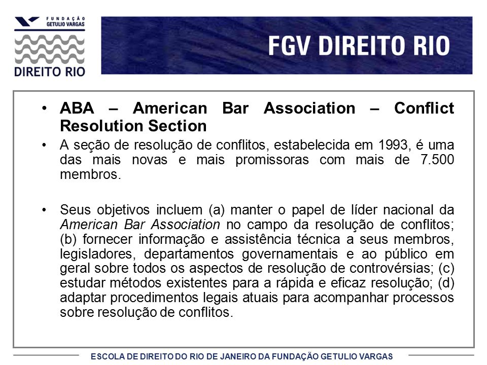 ABA – American Bar Association – Conflict Resolution Section