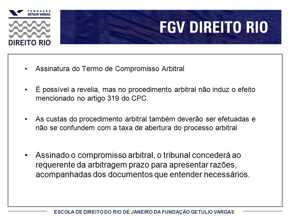 Assinatura do Termo de Compromisso Arbitral