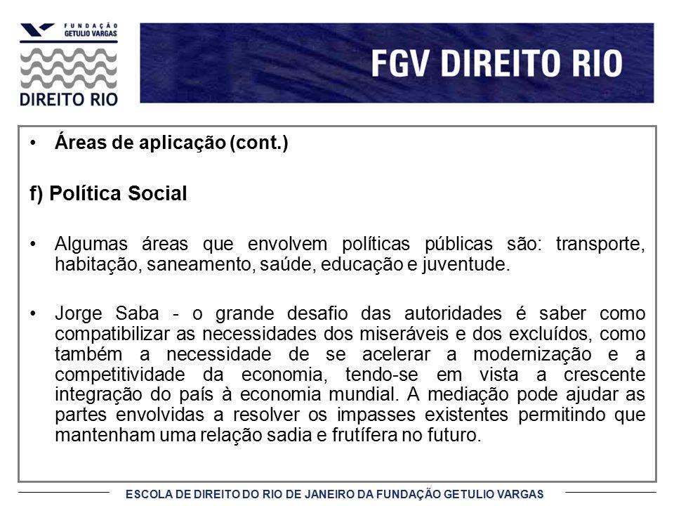 f) Política Social Áreas de aplicação (cont.)