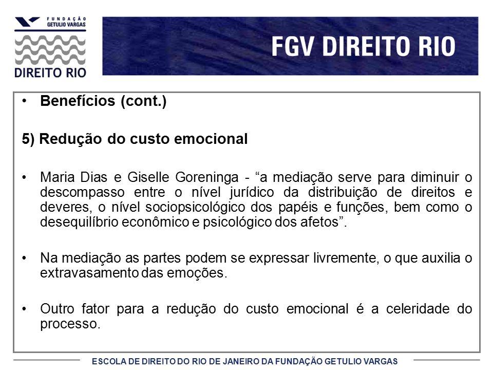 5) Redução do custo emocional