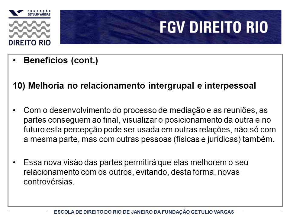 10) Melhoria no relacionamento intergrupal e interpessoal