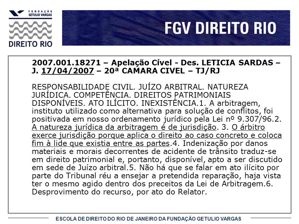2007. 001. 18271 – Apelação Cível - Des. LETICIA SARDAS – J