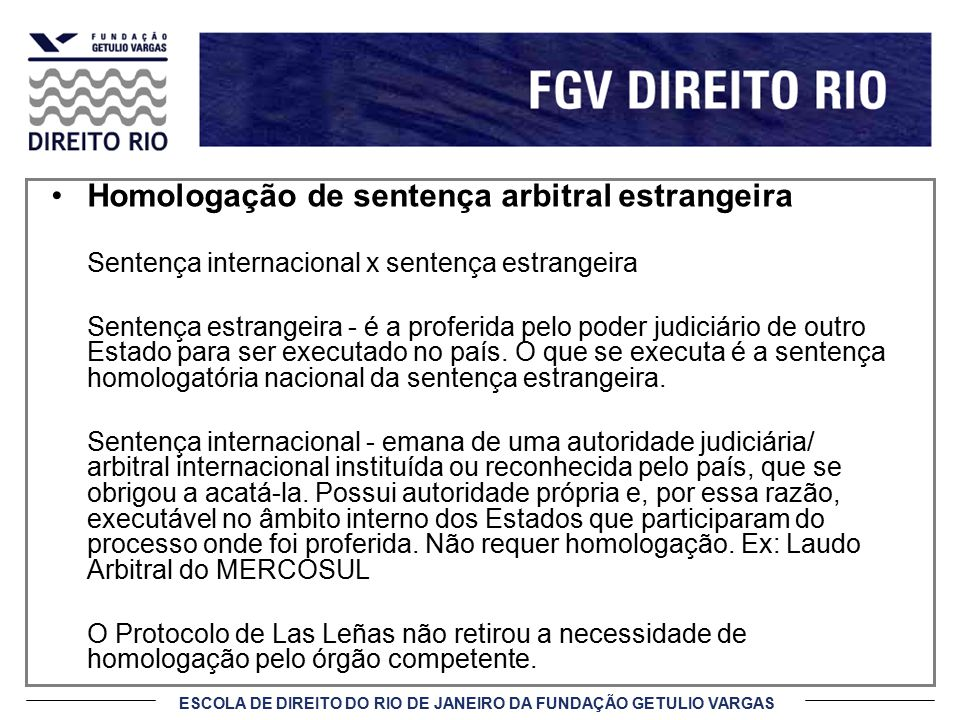 Homologação de sentença arbitral estrangeira
