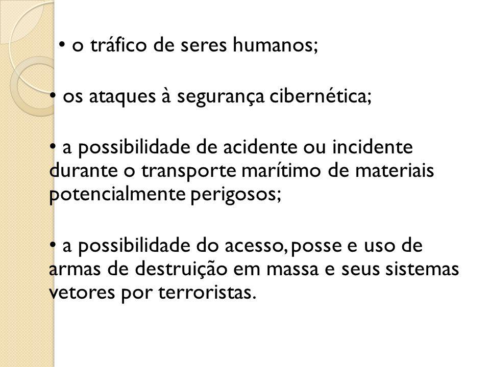 • o tráfico de seres humanos;