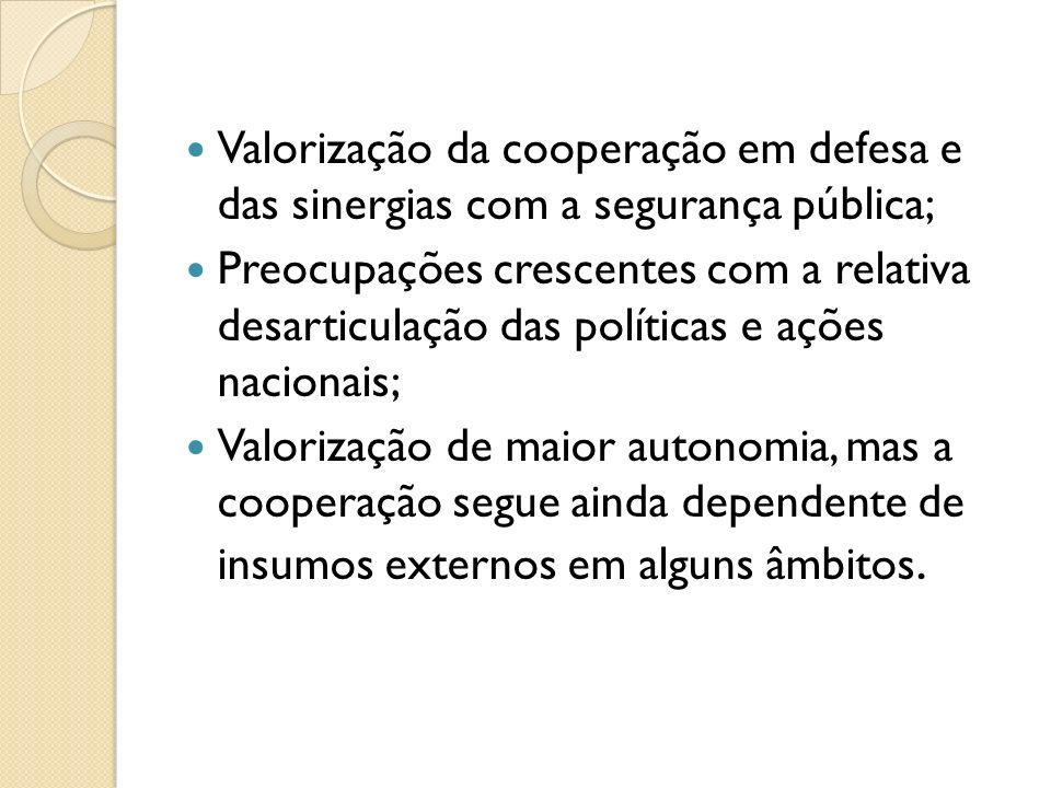 Valorização da cooperação em defesa e das sinergias com a segurança pública;