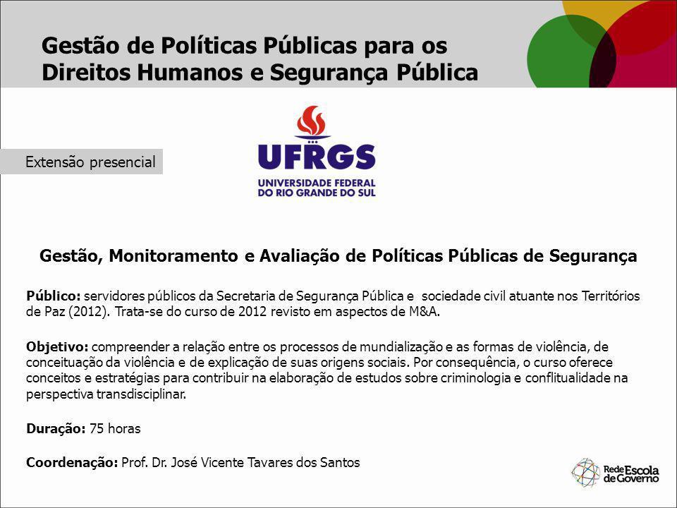 Gestão, Monitoramento e Avaliação de Políticas Públicas de Segurança