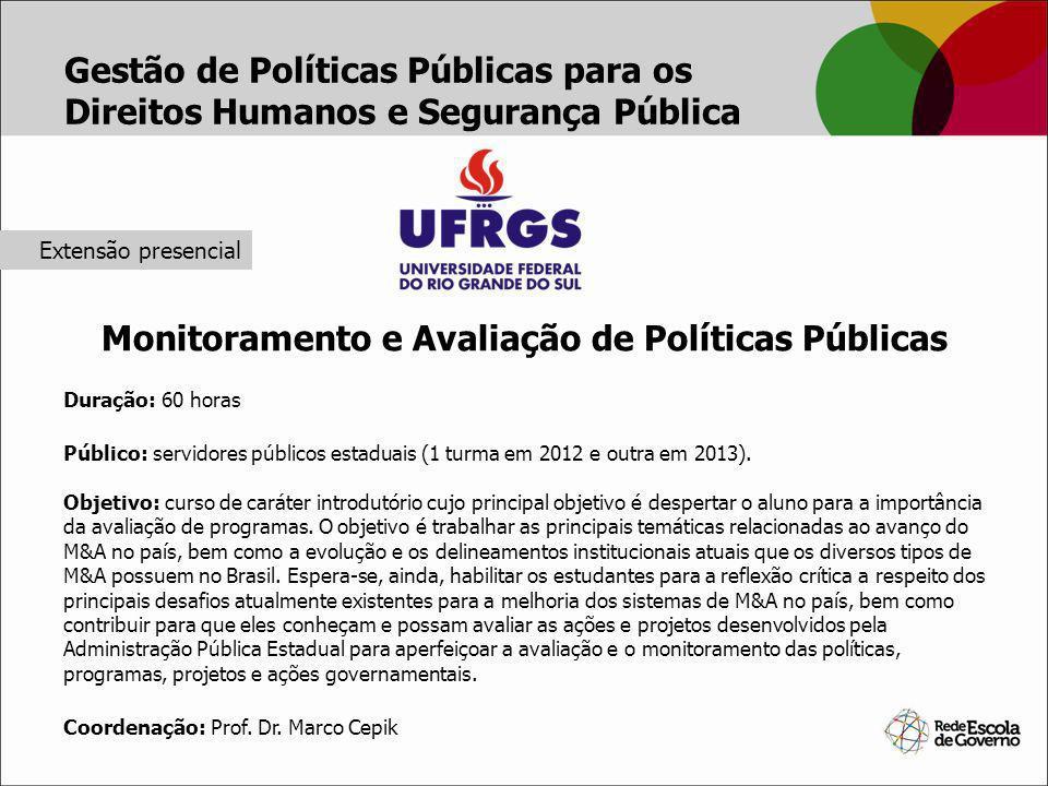 Monitoramento e Avaliação de Políticas Públicas