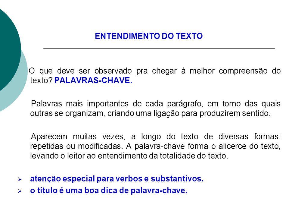 ENTENDIMENTO DO TEXTO O que deve ser observado pra chegar à melhor compreensão do texto PALAVRAS-CHAVE.