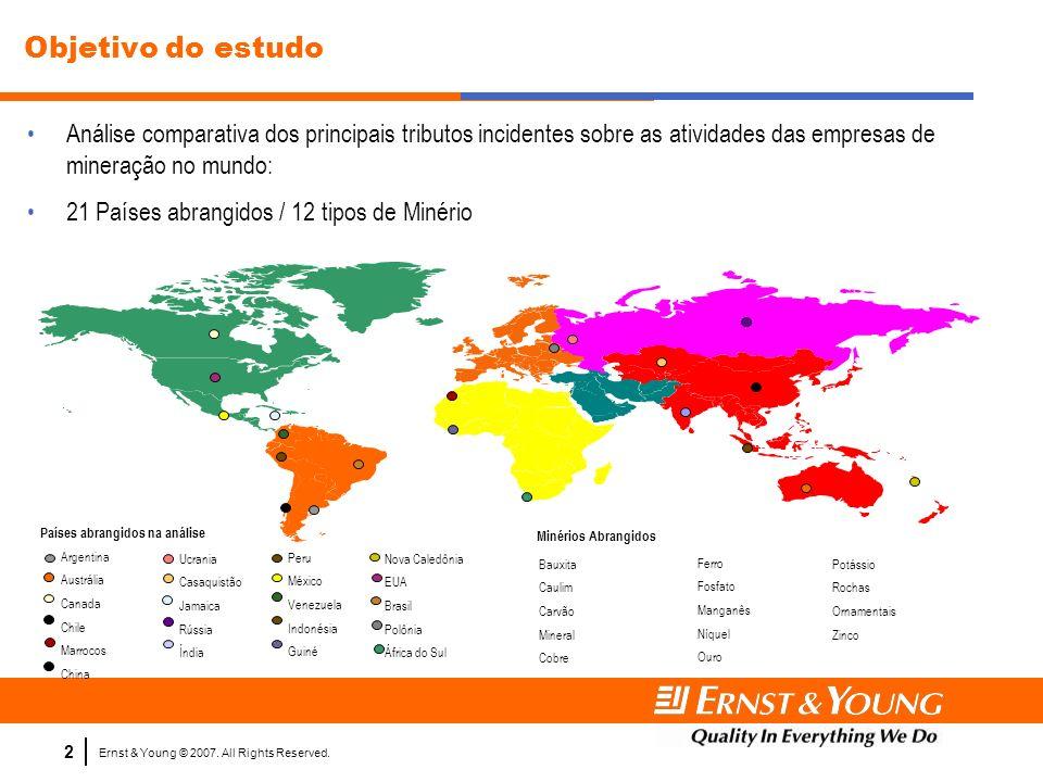 Objetivo do estudoAnálise comparativa dos principais tributos incidentes sobre as atividades das empresas de mineração no mundo: