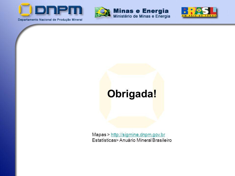 Obrigada! Mapas > http://sigmine.dnpm.gov.br