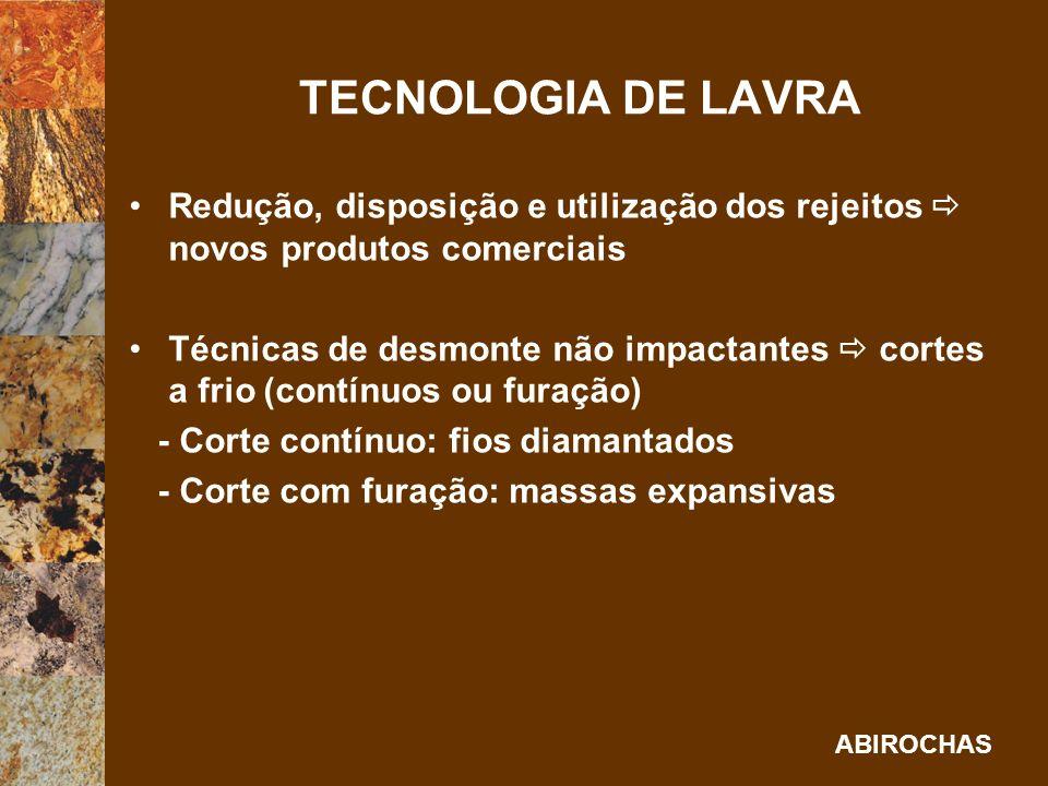 TECNOLOGIA DE LAVRA Redução, disposição e utilização dos rejeitos  novos produtos comerciais.