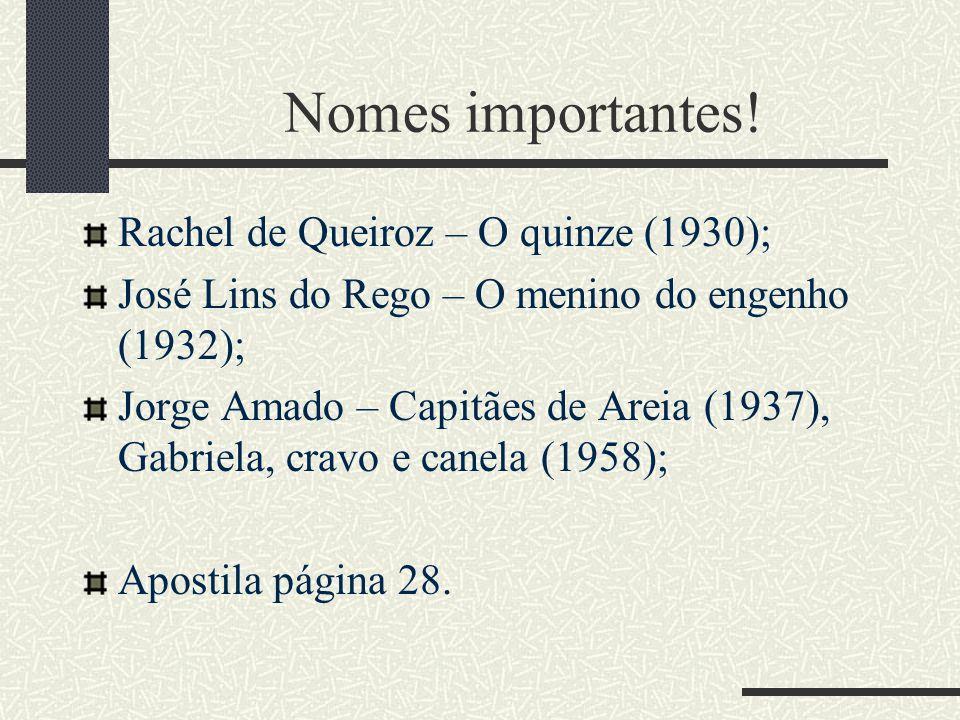 Nomes importantes! Rachel de Queiroz – O quinze (1930);