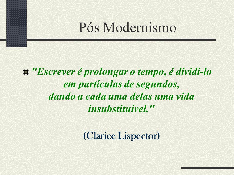 Pós Modernismo Escrever é prolongar o tempo, é dividi-lo em partículas de segundos, dando a cada uma delas uma vida insubstituível.