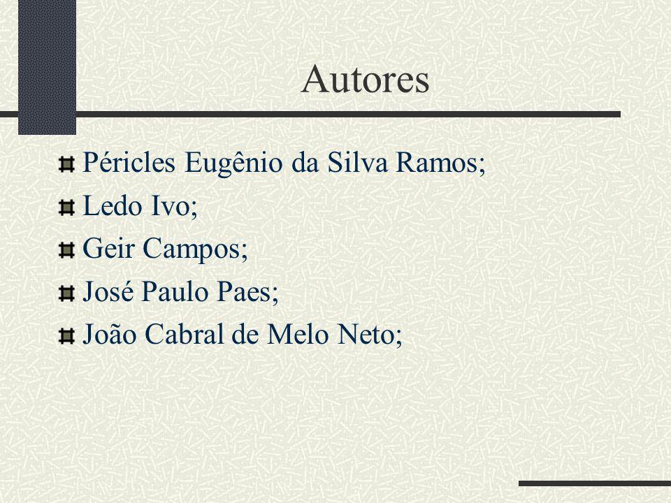 Autores Péricles Eugênio da Silva Ramos; Ledo Ivo; Geir Campos;