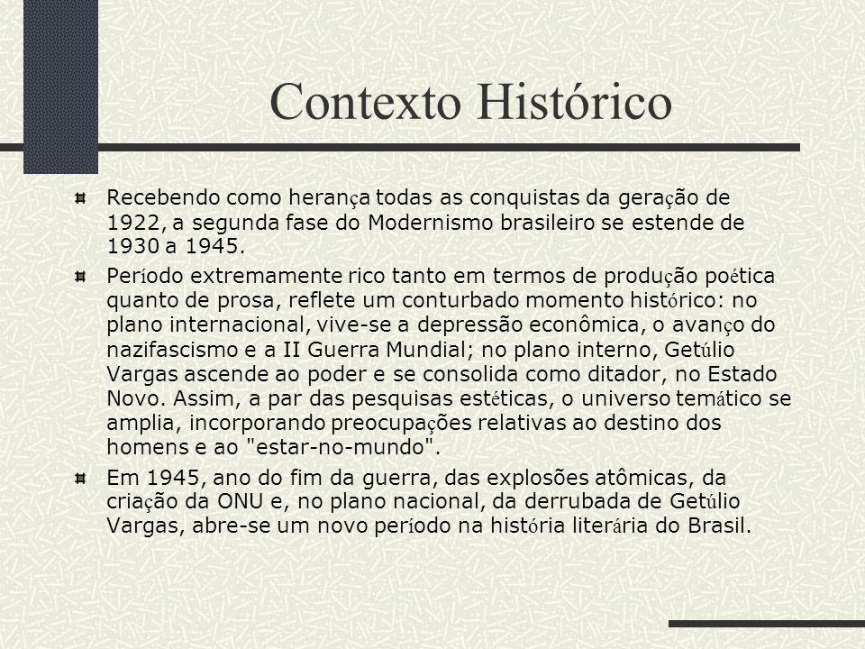 Contexto Histórico Recebendo como herança todas as conquistas da geração de 1922, a segunda fase do Modernismo brasileiro se estende de 1930 a 1945.