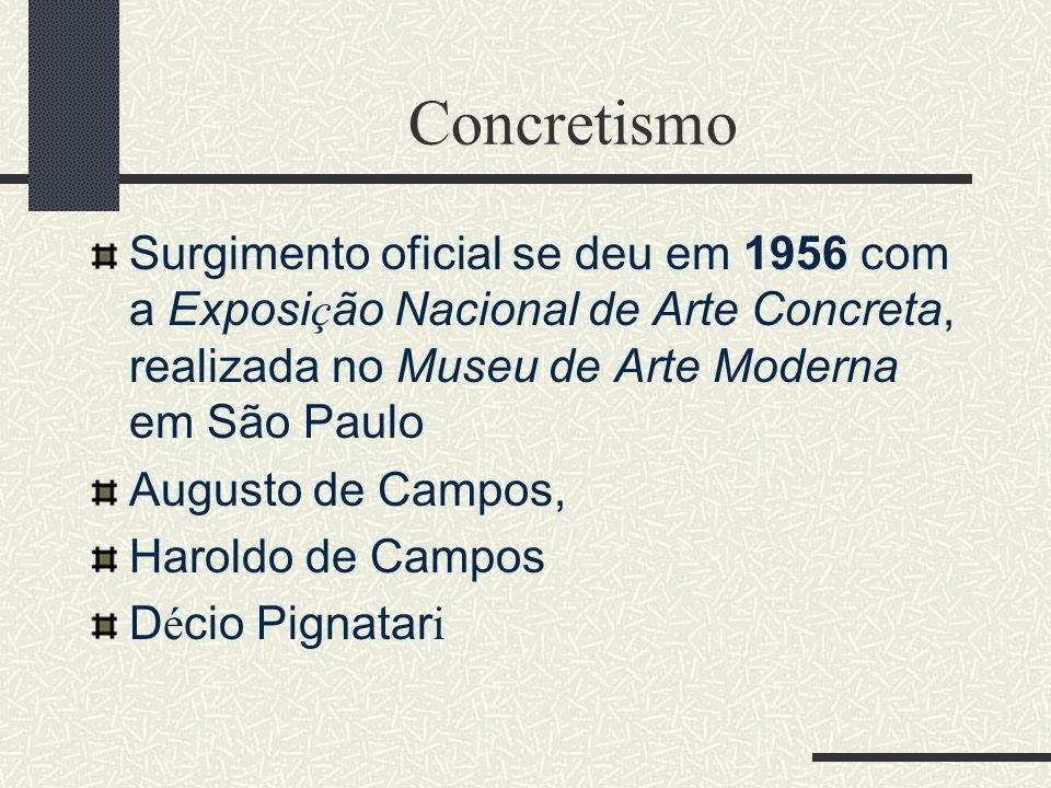 Concretismo Surgimento oficial se deu em 1956 com a Exposição Nacional de Arte Concreta, realizada no Museu de Arte Moderna em São Paulo.