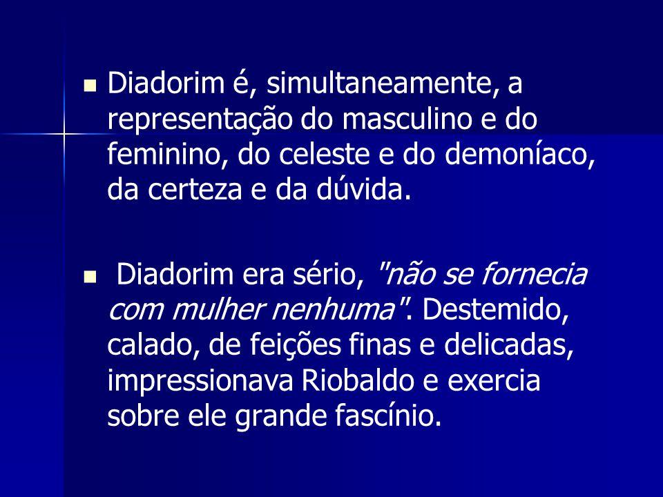Diadorim é, simultaneamente, a representação do masculino e do feminino, do celeste e do demoníaco, da certeza e da dúvida.