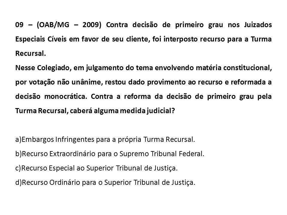 09 – (OAB/MG – 2009) Contra decisão de primeiro grau nos Juizados Especiais Cíveis em favor de seu cliente, foi interposto recurso para a Turma Recursal.