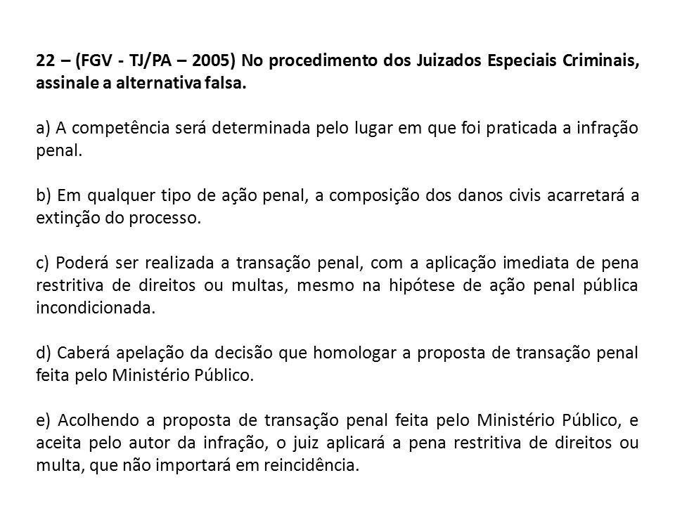 22 – (FGV - TJ/PA – 2005) No procedimento dos Juizados Especiais Criminais, assinale a alternativa falsa.