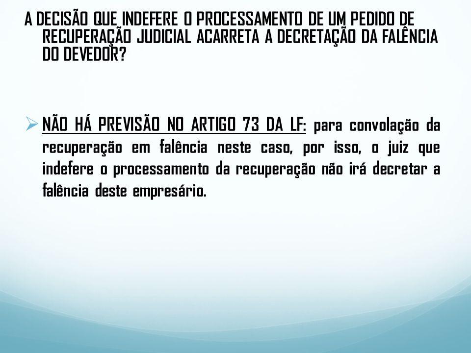 A DECISÃO QUE INDEFERE O PROCESSAMENTO DE UM PEDIDO DE RECUPERAÇÃO JUDICIAL ACARRETA A DECRETAÇÃO DA FALÊNCIA DO DEVEDOR