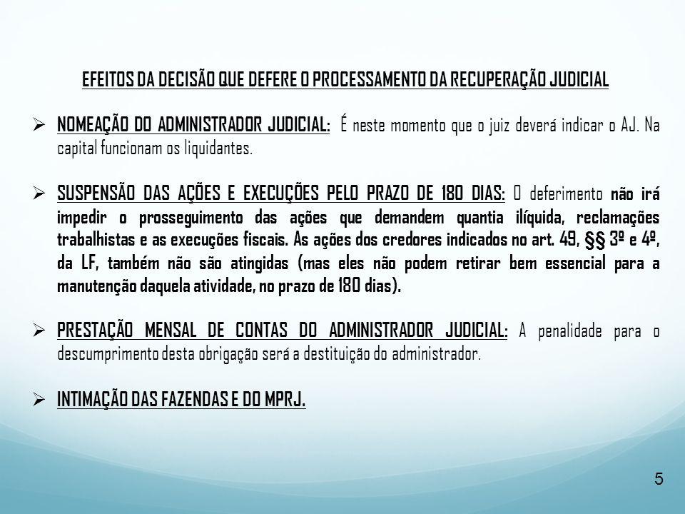EFEITOS DA DECISÃO QUE DEFERE O PROCESSAMENTO DA RECUPERAÇÃO JUDICIAL