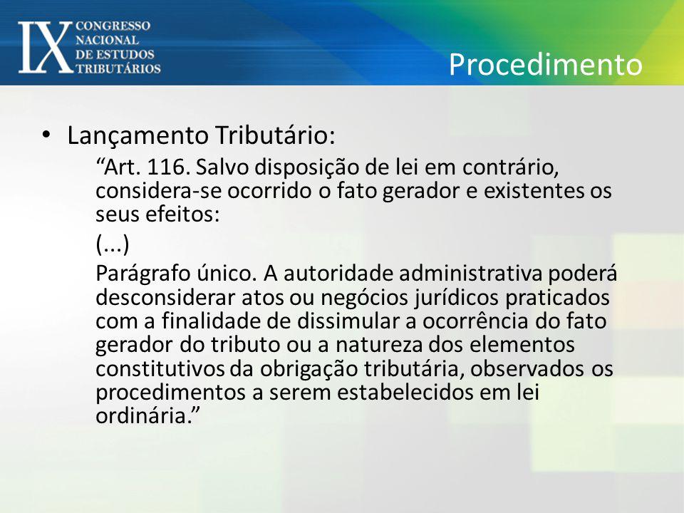 Procedimento Lançamento Tributário: