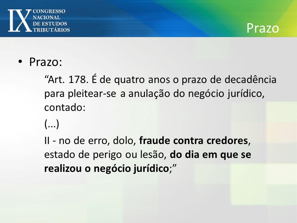 Prazo Prazo: Art. 178. É de quatro anos o prazo de decadência para pleitear-se a anulação do negócio jurídico, contado: