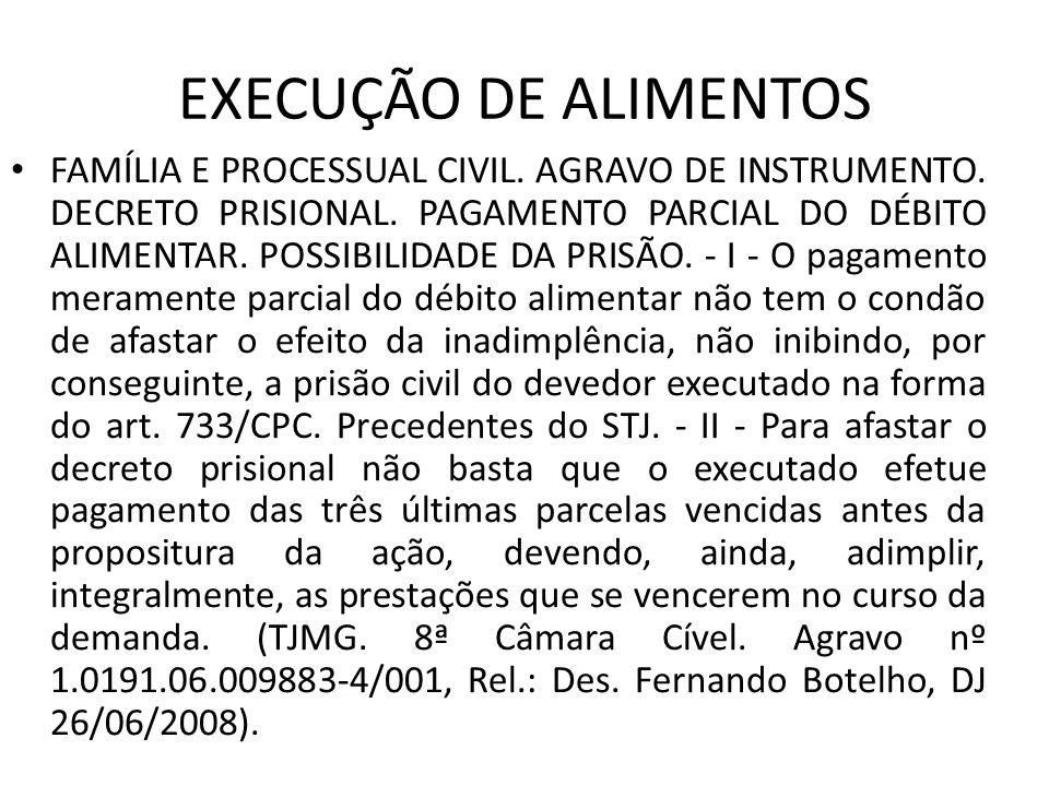 EXECUÇÃO DE ALIMENTOS