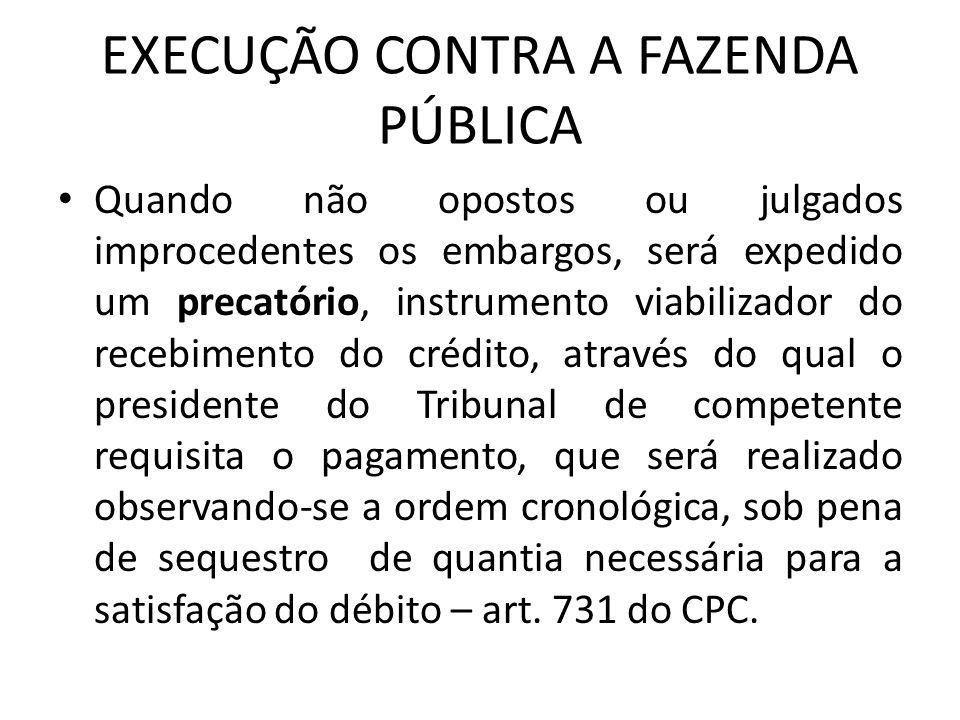 EXECUÇÃO CONTRA A FAZENDA PÚBLICA