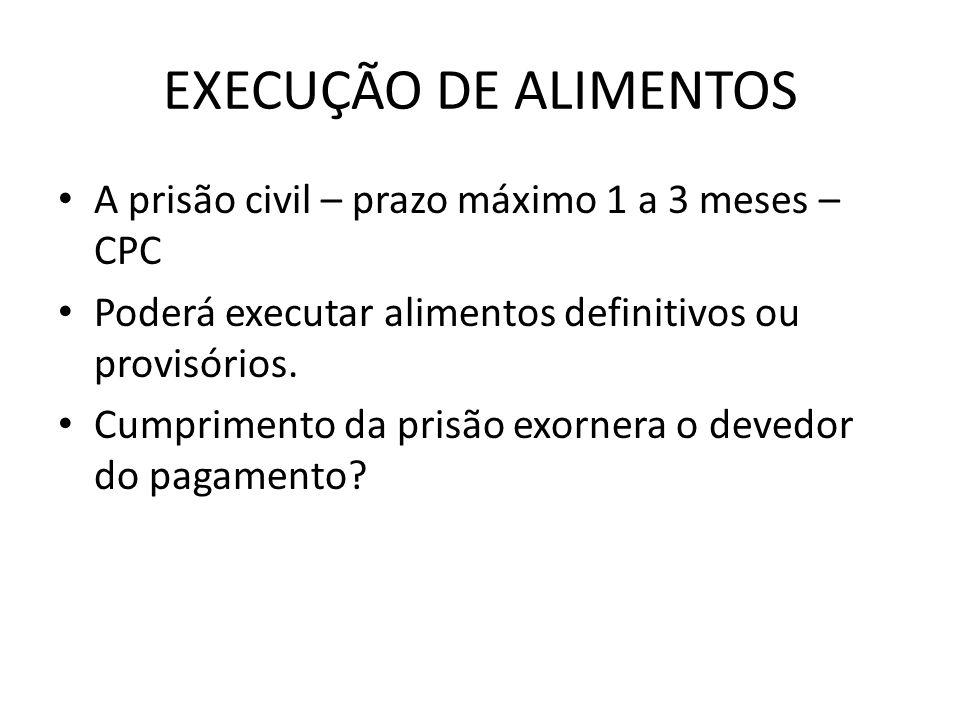 EXECUÇÃO DE ALIMENTOS A prisão civil – prazo máximo 1 a 3 meses – CPC