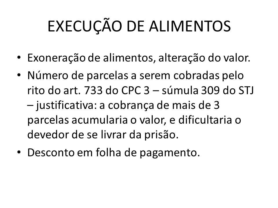 EXECUÇÃO DE ALIMENTOS Exoneração de alimentos, alteração do valor.