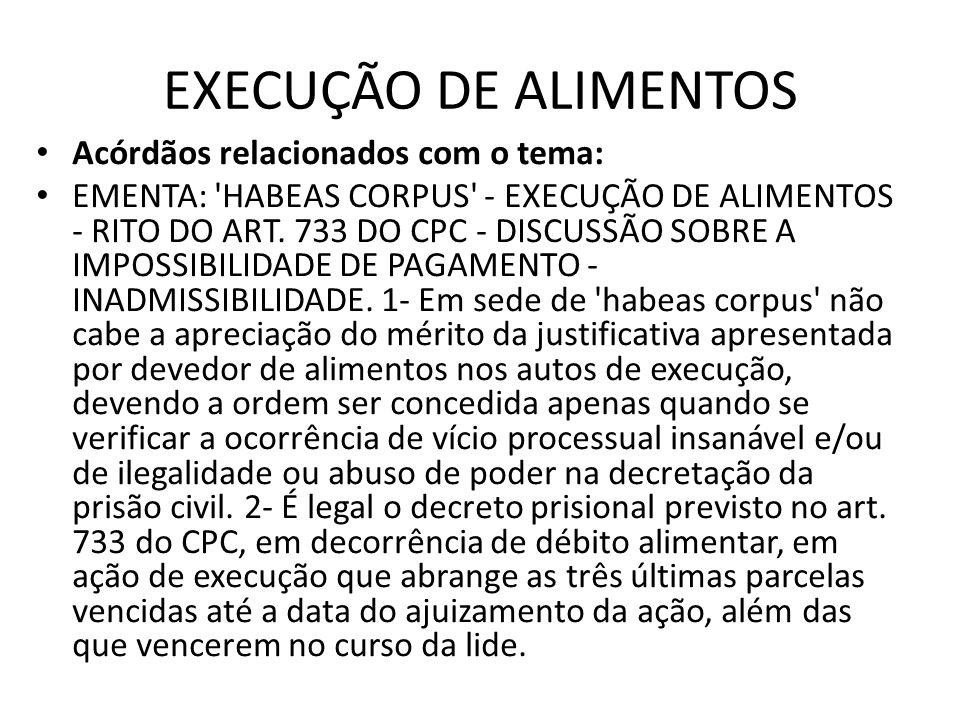 EXECUÇÃO DE ALIMENTOS Acórdãos relacionados com o tema: