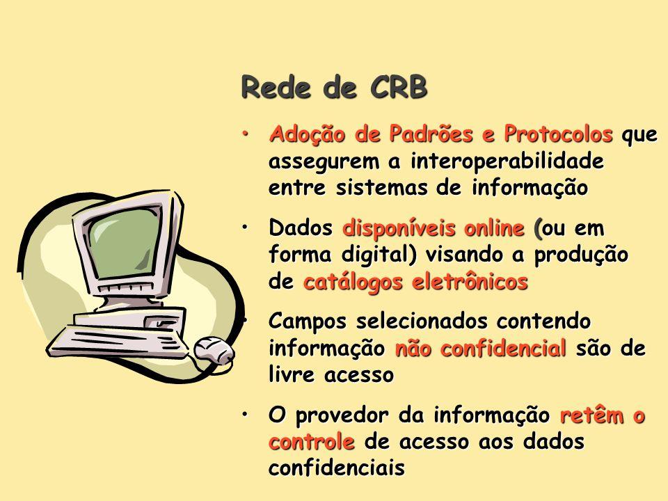 Rede de CRB Adoção de Padrões e Protocolos que assegurem a interoperabilidade entre sistemas de informação.