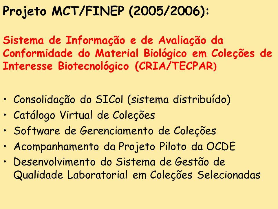 Projeto MCT/FINEP (2005/2006): Sistema de Informação e de Avaliação da Conformidade do Material Biológico em Coleções de Interesse Biotecnológico (CRIA/TECPAR)