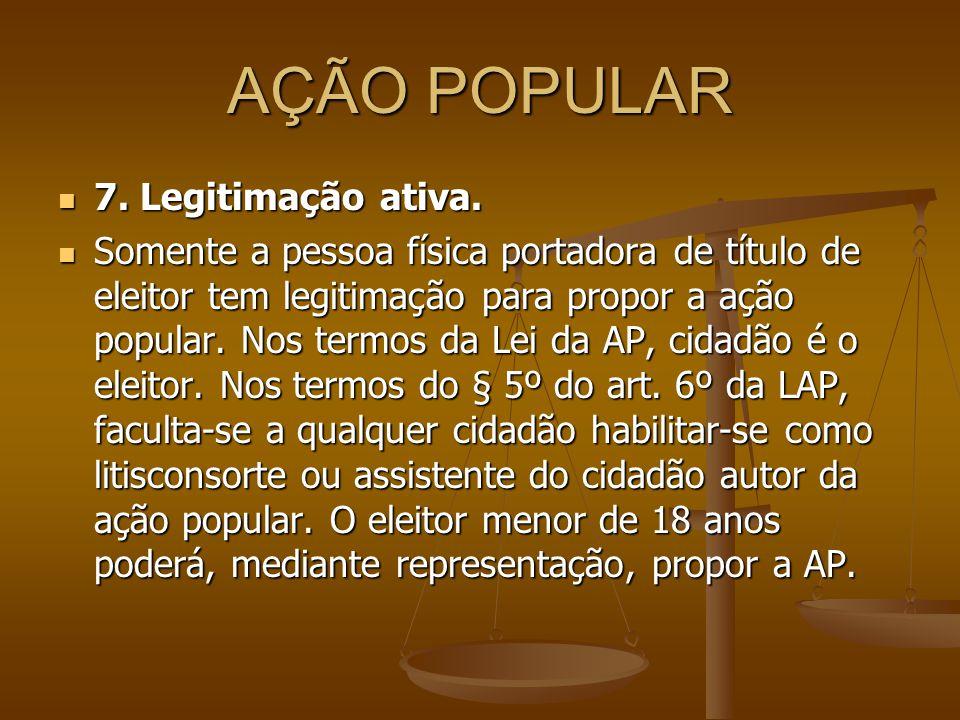 AÇÃO POPULAR 7. Legitimação ativa.