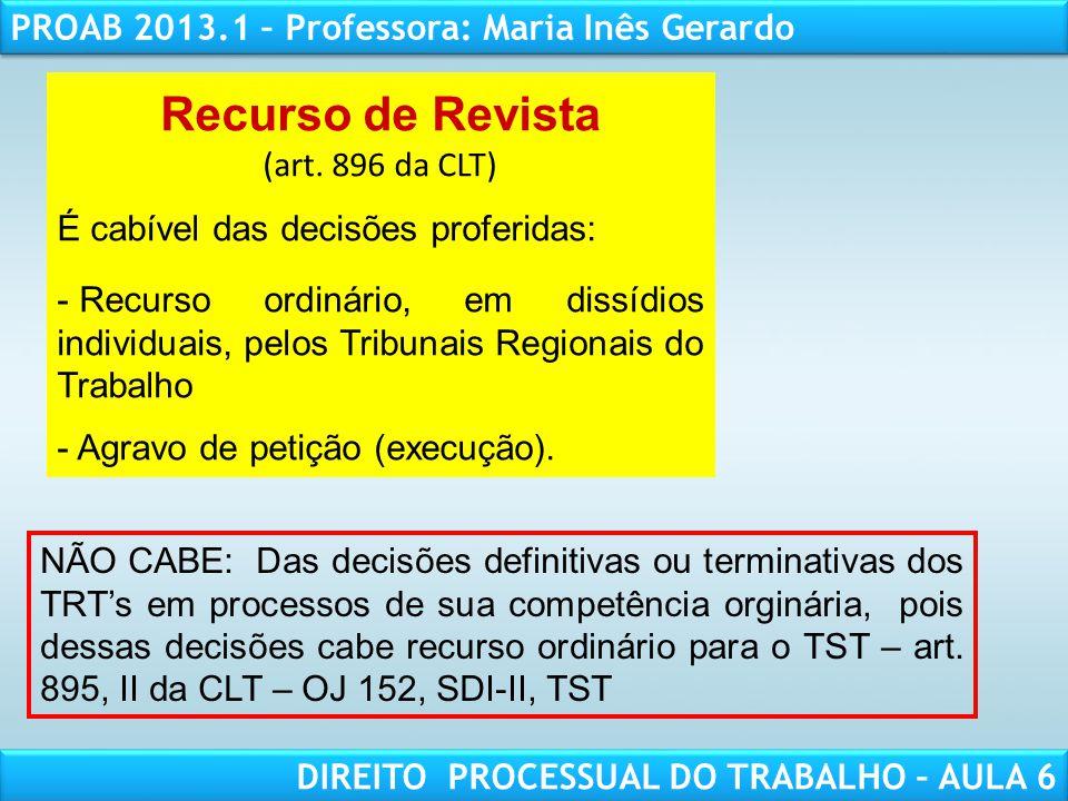 Recurso de Revista (art. 896 da CLT)