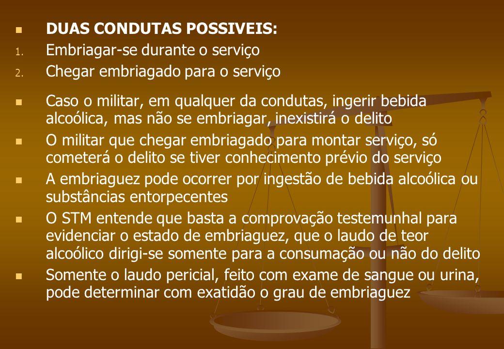 DUAS CONDUTAS POSSIVEIS: Embriagar-se durante o serviço