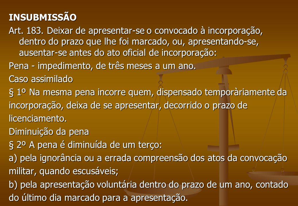 INSUBMISSÃO Art. 183.