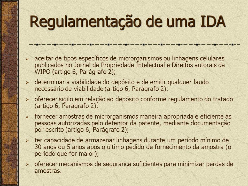 Regulamentação de uma IDA