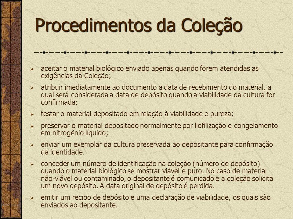 Procedimentos da Coleção
