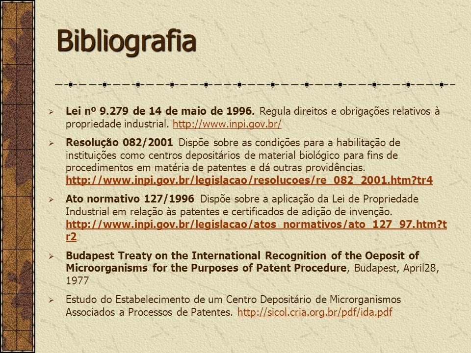 Bibliografia Lei nº 9.279 de 14 de maio de 1996. Regula direitos e obrigações relativos à propriedade industrial. http://www.inpi.gov.br/
