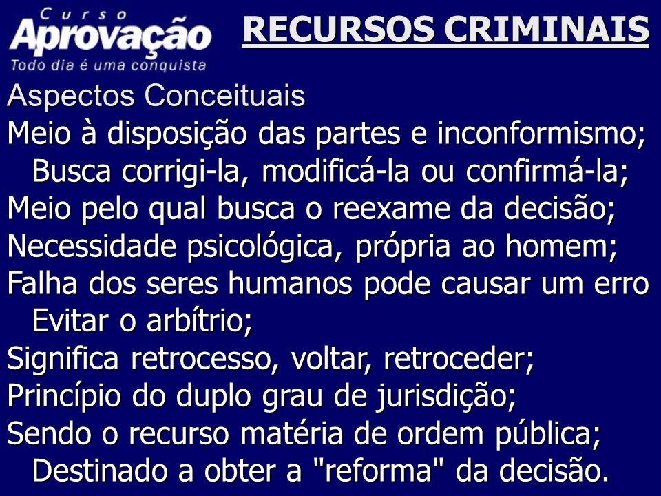 RECURSOS CRIMINAIS Aspectos Conceituais