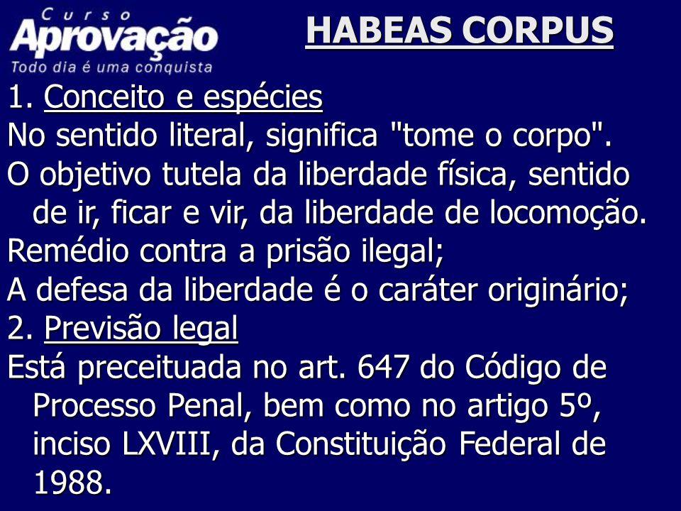 HABEAS CORPUS 1. Conceito e espécies