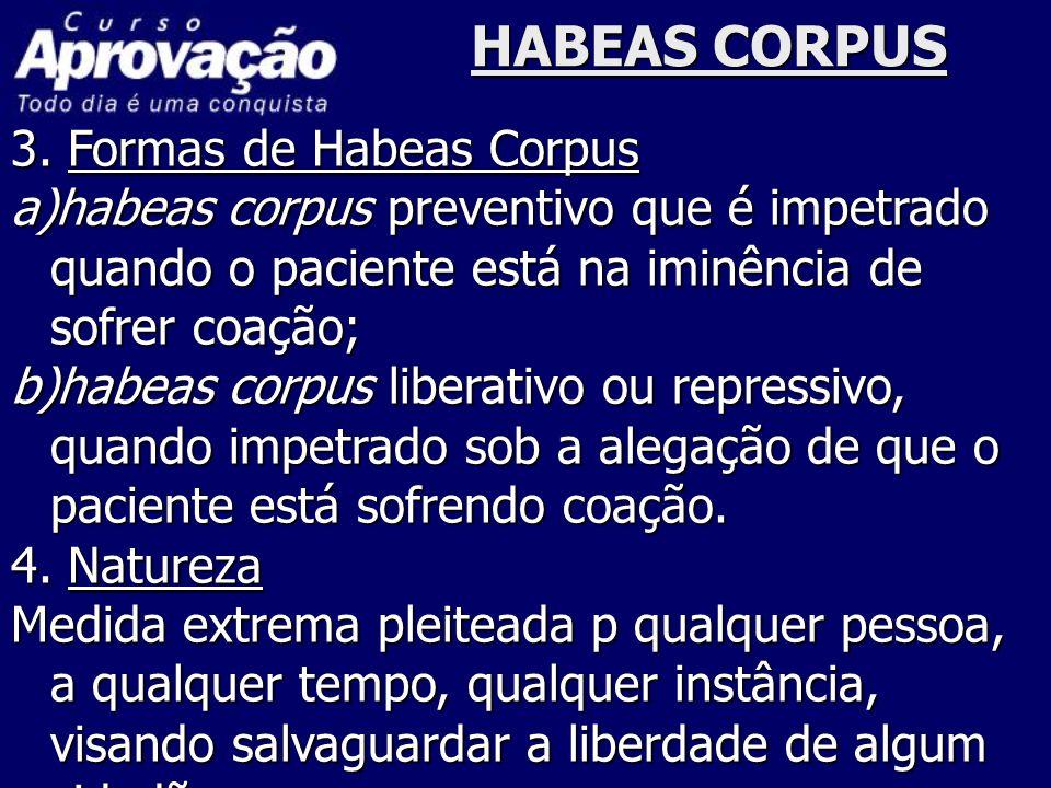 HABEAS CORPUS 3. Formas de Habeas Corpus