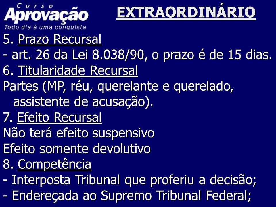 EXTRAORDINÁRIO 5. Prazo Recursal