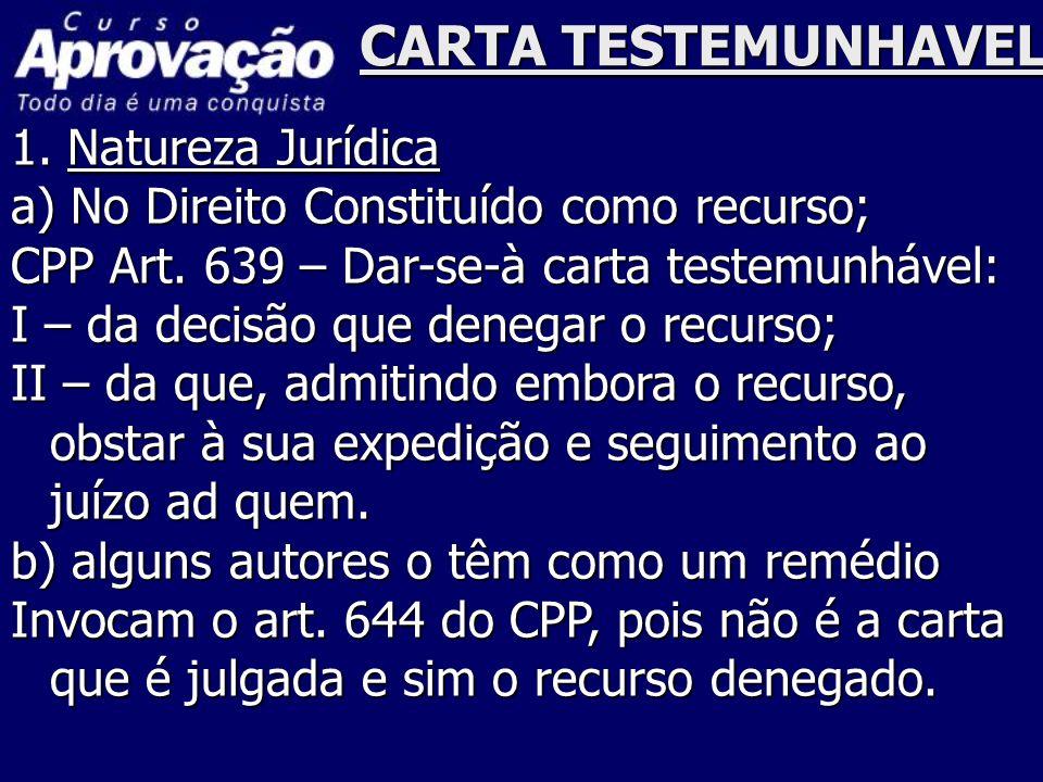 CARTA TESTEMUNHAVEL 1. Natureza Jurídica