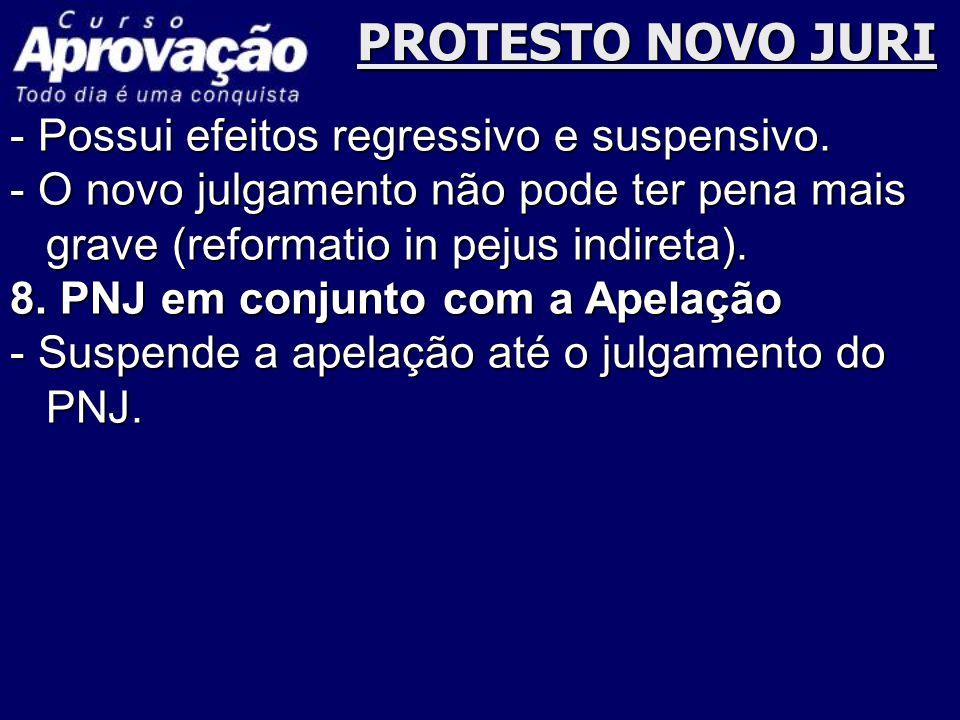 PROTESTO NOVO JURI - Possui efeitos regressivo e suspensivo.