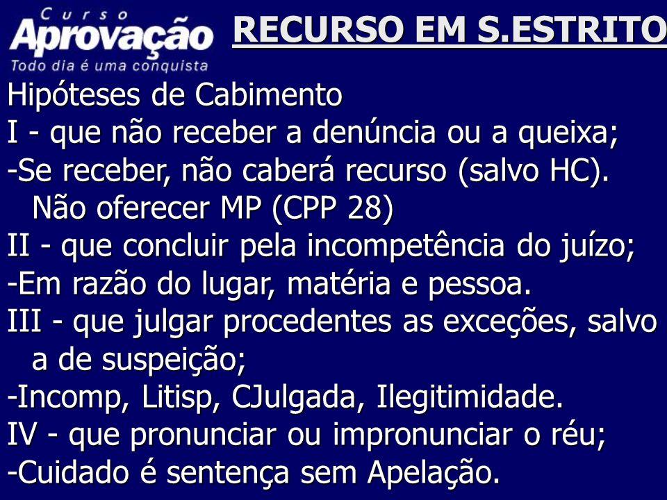 RECURSO EM S.ESTRITO Hipóteses de Cabimento
